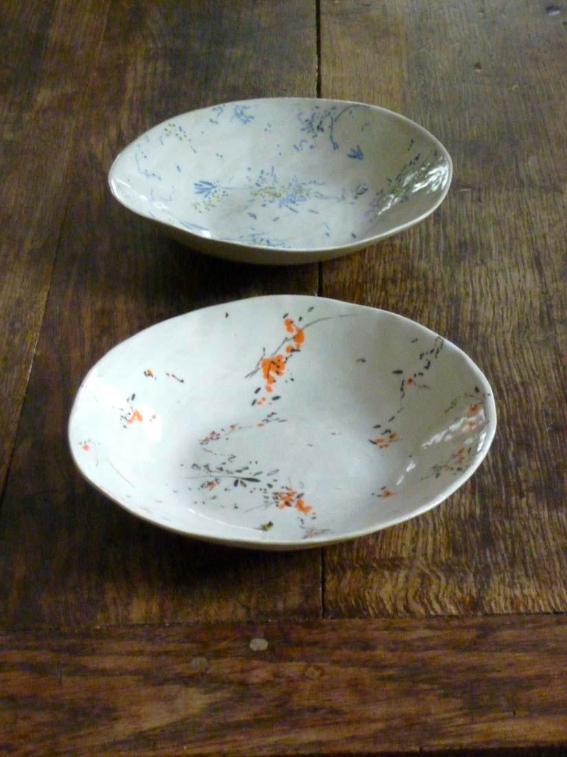 assiette creuse valerie gutton floral gres gris