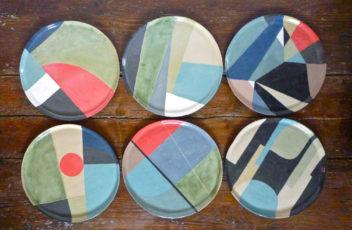 assiette valerie gutton geometrique gres couleur