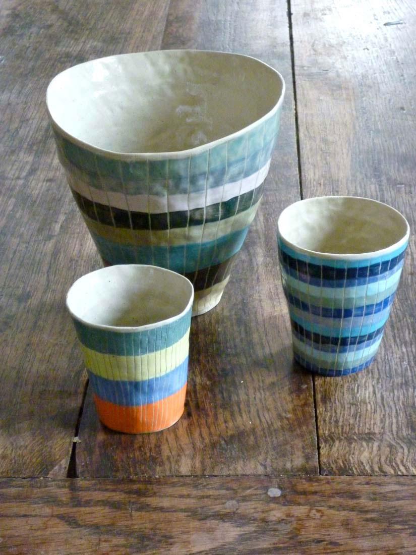 saladier mug valerie gutton rayure gres couleur
