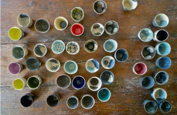 valerie gutton tasse floral rond etoile gres couleur