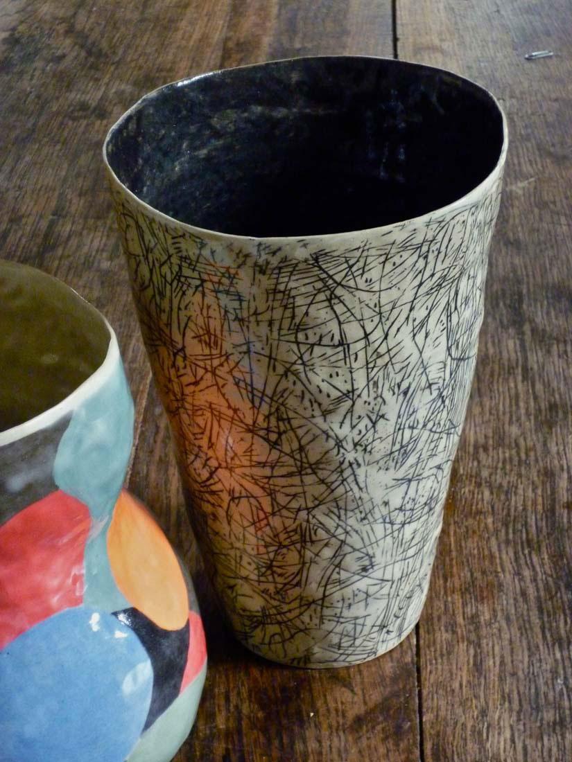 vase valerie gutton graver gres noir